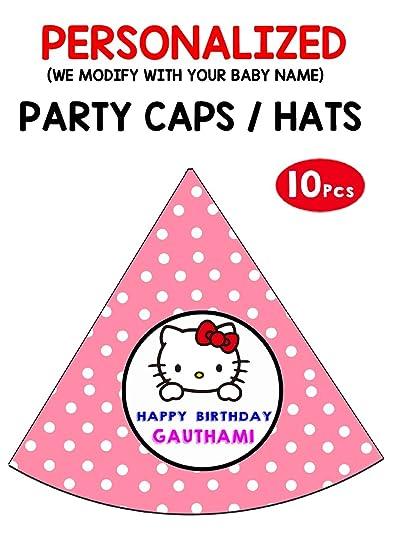Wow Party Studio Personalized Hello Kitty Theme Birthday Hat With Boy Girl Name