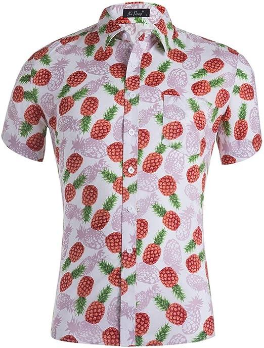 Camisas de los hombres Camisa hawaiana de manga corta para hombre con estampado de piña y