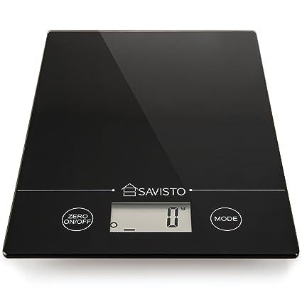 savisto 5 kg Electrónica Alto akurate Báscula de cocina digital con gran pantalla LCD – Negro