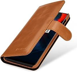 StilGut Housse OnePlus 6 Porte-Cartes Talis en Cuir véritable à Ouverture latérale et Languette magnétique, Cognac