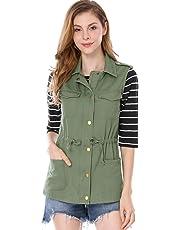 Allegra K Women's Drawstring Lightweight Utility Anorak Cargo Vest