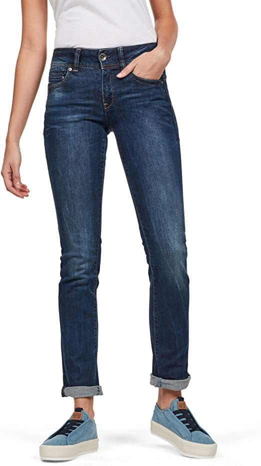G STAR RAW Damen Midge Saddle Mid Waist Straight Jeans