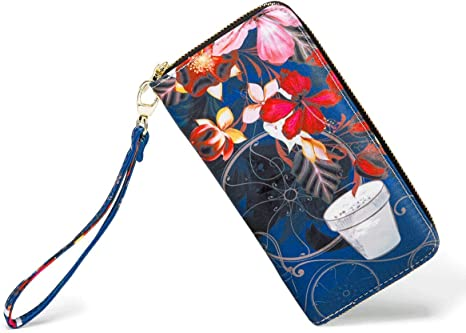 Leather Wallet Flowers Line Design Pattern Women Men Travel Long Purse Zip Around Clutch Pouch ID Credit Card Coin Wallets