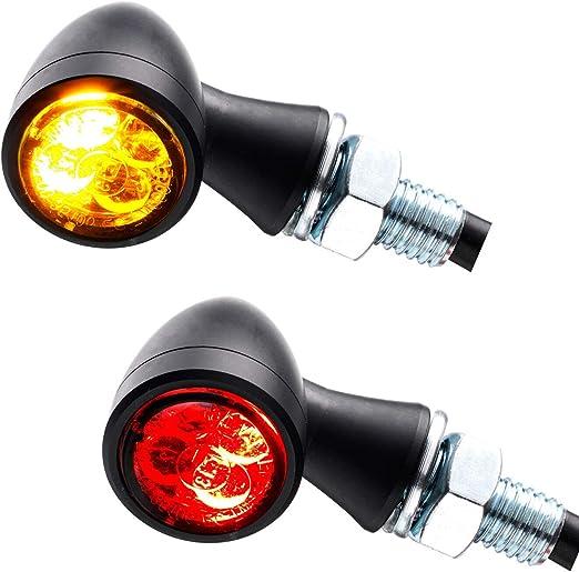 Led 3in1 Mini Rücklicht Bremslicht Blinker Zero Schwarz Getönt Motorrad Chopper Caferacer 1 Paar Auto