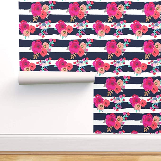 Spoonflower Peel And Stick Removable Wallpaper Floral Stripes Boho Blue White Pink Flower Stripe Navy Print Self Adhesive Wallpaper 12in X 24in Test Swatch Amazon Com