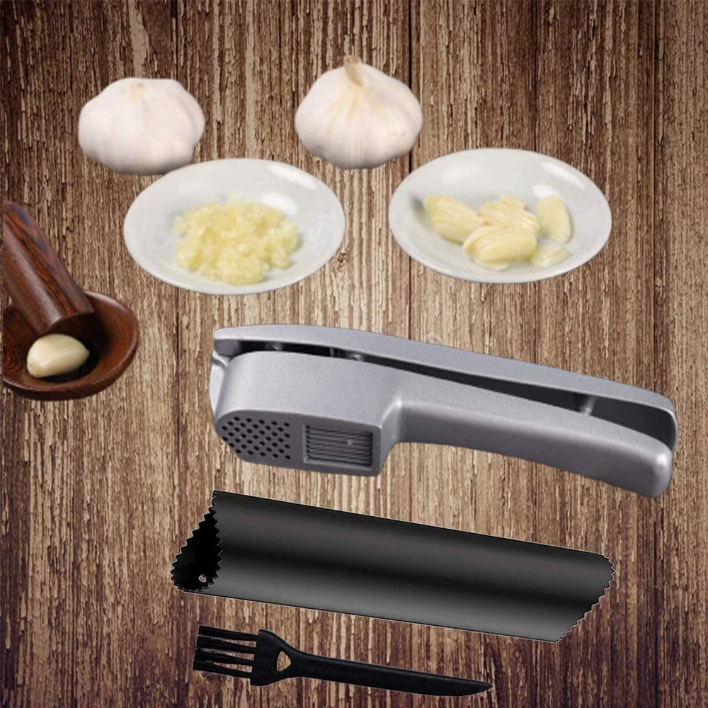 2 in 1 Garlic Mince and Garlic Slice Garlic Press Mashed Garlic Crusher Peeler Chopper Garlic Puree Maker with Silicone Tube Roller and Cleaning Brush Professional Kitchen Garlic Keepers Tools Easy Clean and Squeeze