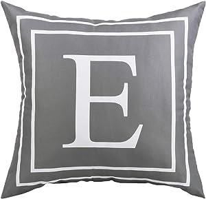 Fascidorm Gray Pillow Cover English Alphabet E Throw Pillow Case Modern Cushion Cover Square Pillowcase Decoration for Sofa Bed Chair Car 18 x 18 Inch