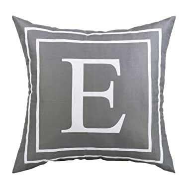 BLEUM CADE Gray Pillow Cover English Alphabet E Throw Pillow Case Modern Cushion Cover Square Pillowcase Decoration for Sofa Bed Chair Car 18 x 18 Inch