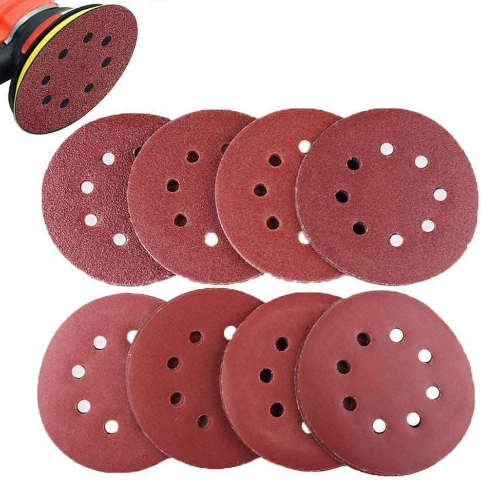 MJIKOO 80Pcs Sanding Discs,Sanding Disc Pads 125mm//5 Inch 8 Holes Hook and Loop 40//60//80//120//180//240//320//400 Sandpaper Assorted,Clear