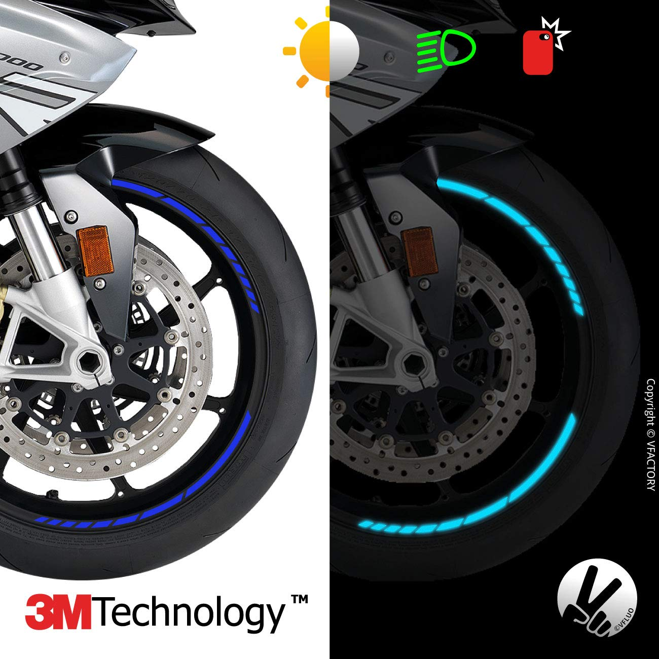3M Technology/™ Anchura XL : 10 mm Rayas Retro Reflectantes para Llantas de Moto VFLUO GP Design/™ 1 Rueda Kit de Cintas Azul