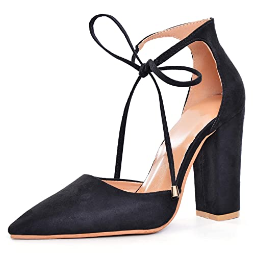 71775fe9b5e9 Women Ankle Lace-Up Closed Pointed Toe Chunky Block Heel Pump Sexy Party  Suede High