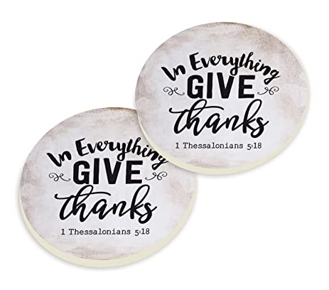 In Everything Give Thanks Black White Set Of 2 Ceramic Car Coaster Pack