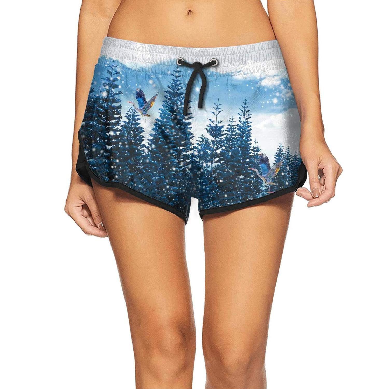 APHSHORTS Winter Forest Mountain Tree Swim Shorts for Women Workout Board Shorts Womens Swimwear Pants
