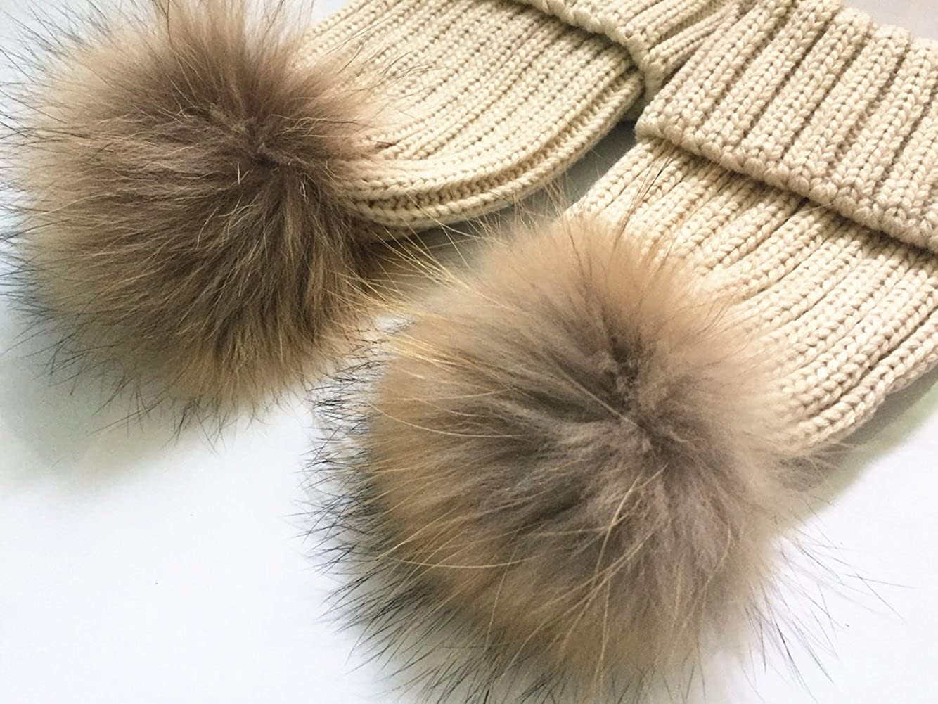 b2afd75edd1 2PC Parent-Child Winter Real Raccoon Fur Pom Pom Knit Hat Stretchy Mother    Baby Beanie Hat (Beige) at Amazon Women s Clothing store