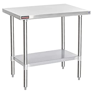 """DuraSteel Stainless Steel Work Table 24"""" x 36"""" x 34"""" Height - Food Prep Commercial Grade Worktable - NSF Certified - Fits for use in Restaurant, Business, Warehouse, Home, Kitchen, Garage"""