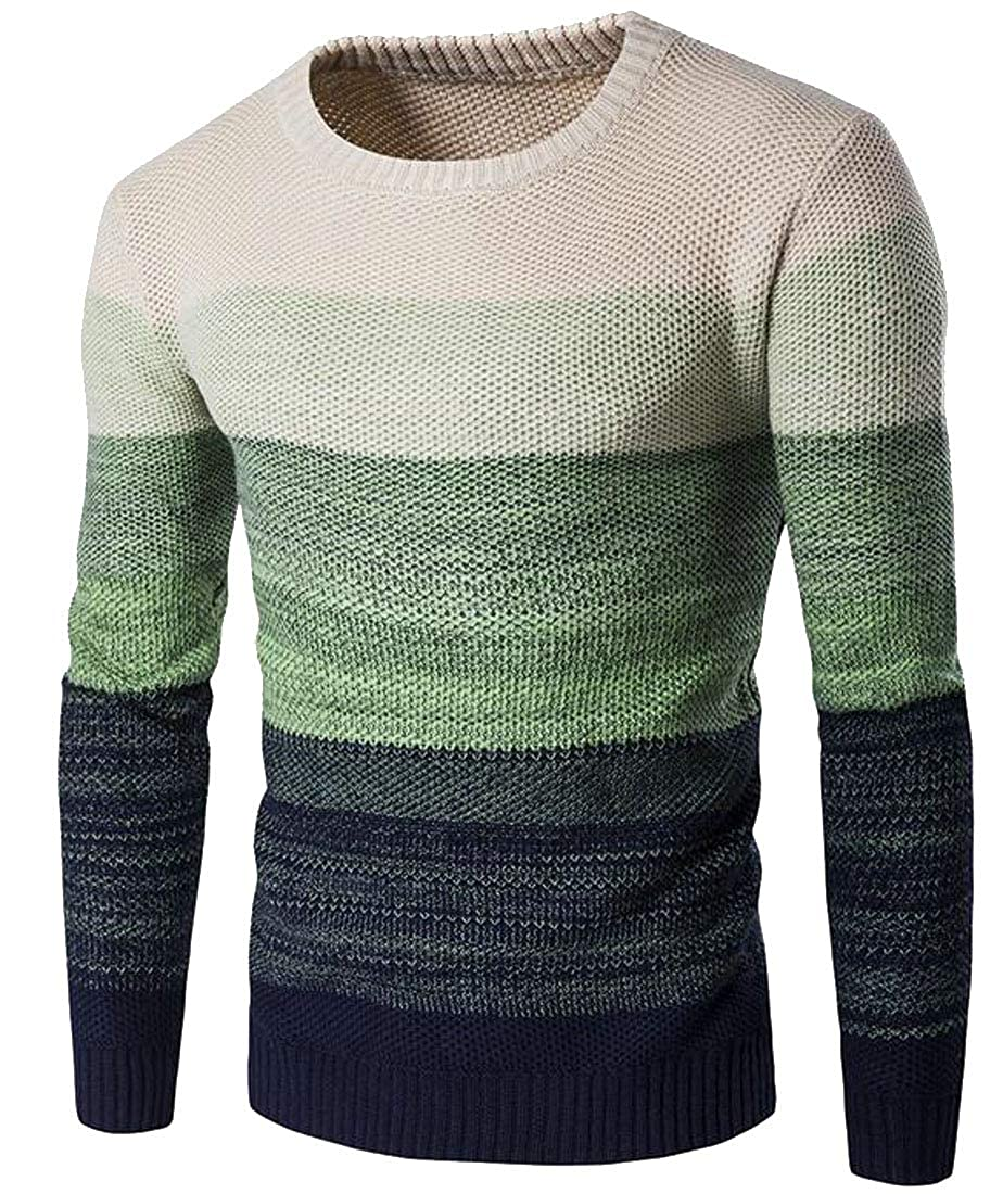 pipigo Mens Knitted Contrast Colors Warm Round-Neck Pullover Jumper Sweaters