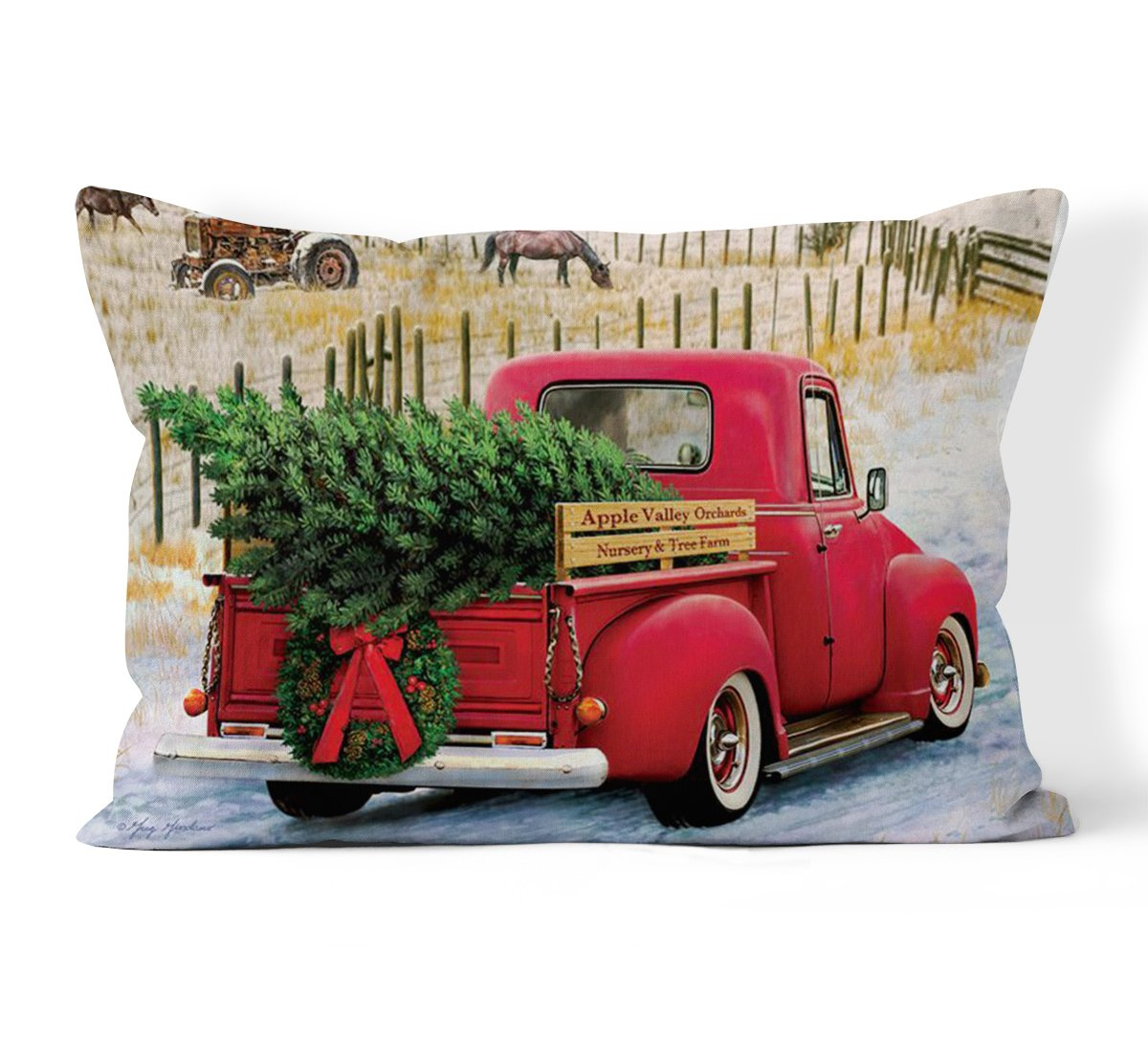 Christmas Tree and Red Truck Home Home Decor Rectangle Pillow 12 x 20 inch