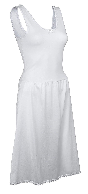 TruFit Sleeveless Full Length Slip for Women - Cotton Blend - Elegant Lace Trim