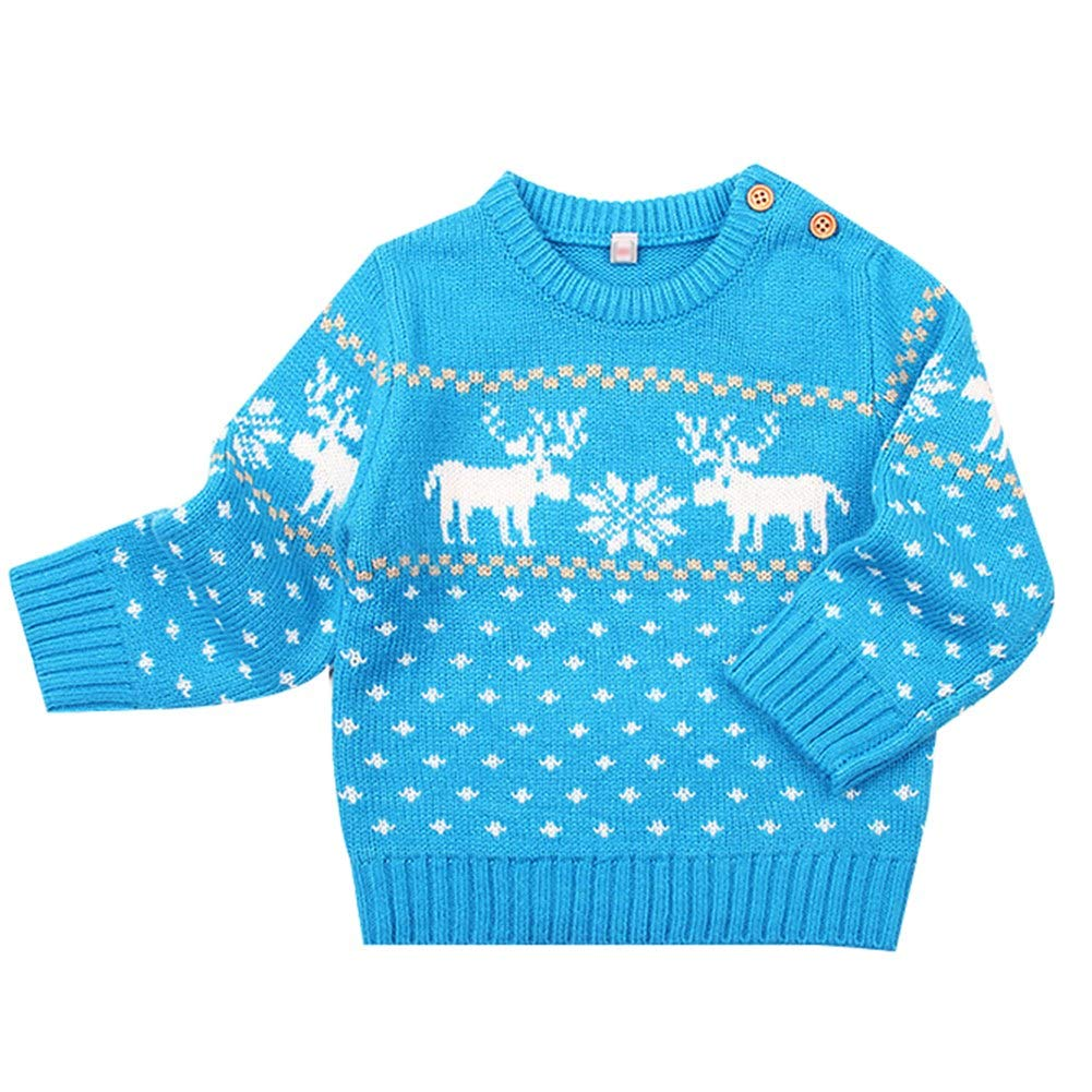 Baby Girls Boys Cardigan Knitted Jumper Christmas Warm Fleece Pullover Sweater Long Sleeve Sweatshirt