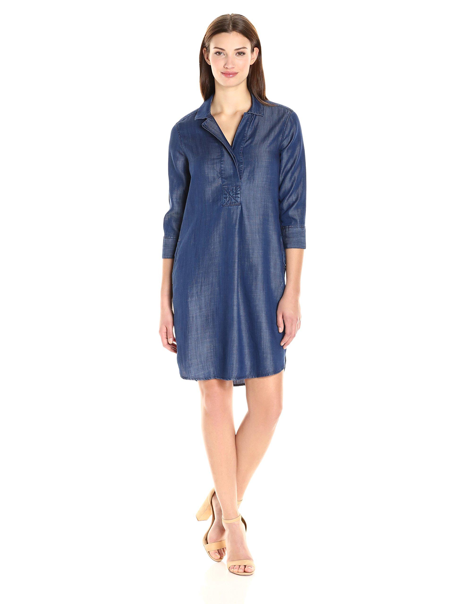 Foxcroft Women's 3/4 Sleeve Nikki Denim Tencel Dress, Navy, 8