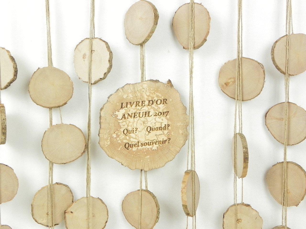 livre dor personnalis/é pour mariage champ/être fait main avec des rondelles de bois Livre dor mariage original en bois