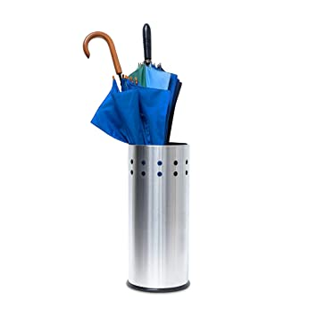 Relaxdays 10019103 - Paragüero de Acero Inoxidable (con Bandeja, Agujeros para Paraguas, Altura: 49,5 cm, diámetro de 22,5 cm), diseño Redondo, Color ...
