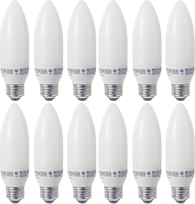 Set of 12 GE Lighting 24692 Energy Smart CFL 9-Watt (40-watt Replacement) 430-Lumen Blunt Tip Light Bulb with Medium Base