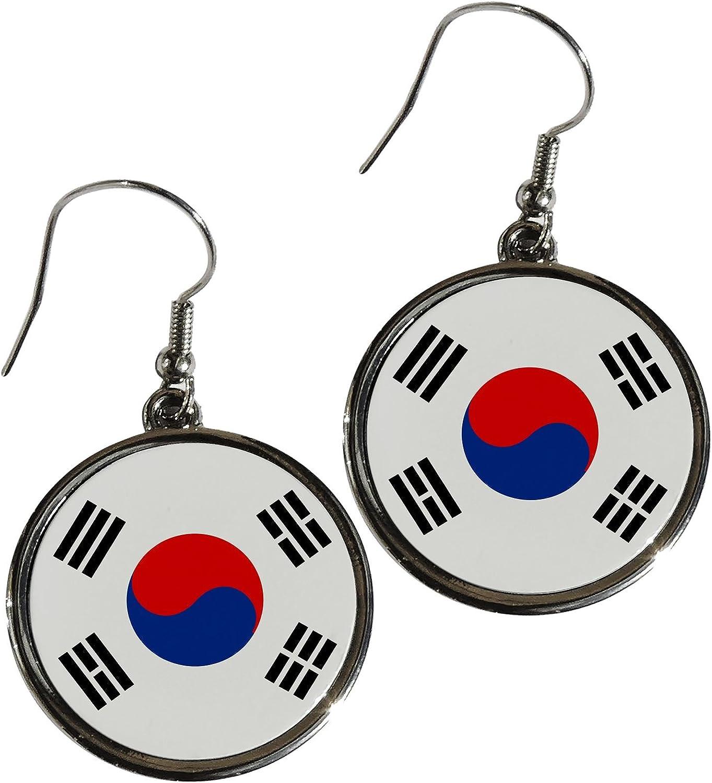 Pendientes de aleación de Premium – bandera de Corea del Sur (coreano) – diseño redondo: Amazon.es: Hogar