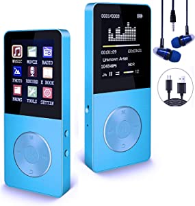 Mp3 Player, Hotechs Hi-Fi Sound, with FM Radio, Recording Function Build-in Speaker Expandable Up to 64GB with Noise Isolation Wired Earbuds