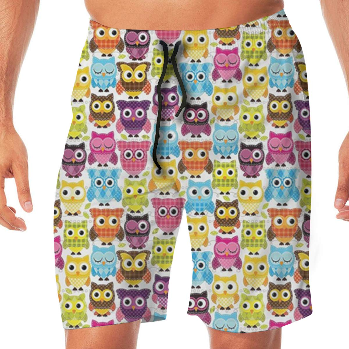 TR2YU7YT Owls with Different Expressions Casual Mens Swim Trunks Quick Dry Printed Beach Shorts Summer Boardshorts Bathing Suits with Drawstring