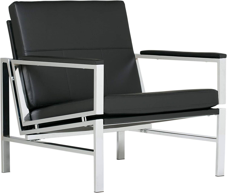 Studio Designs Home, Black, Modern Atlas Accent Chair for Living Room Bedroom, Bonded Leather,: Furniture & Decor