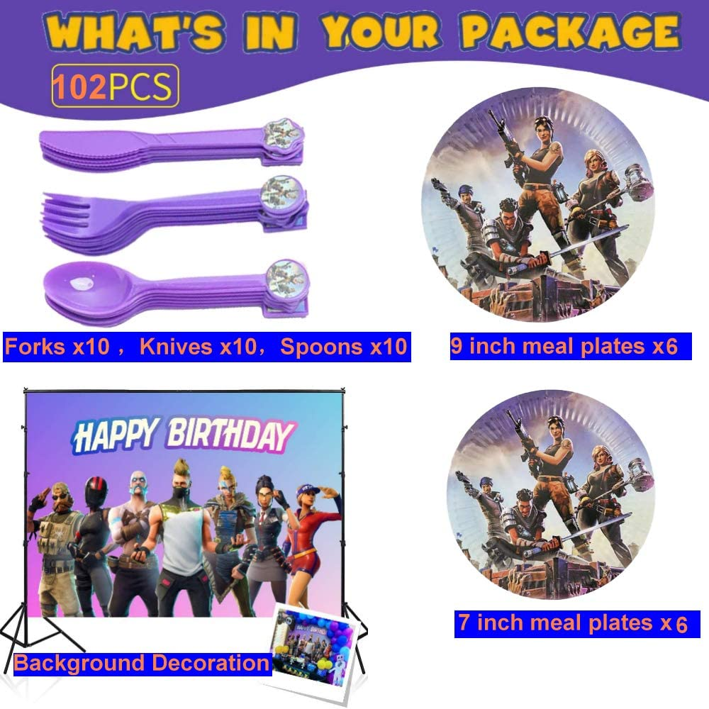 Forks,Knives Blowing Dragon Paper and Decorations Backdrop cutlery Kit Gifts. Cups Banner Birthday Party Supplies for Game Fans Napkins 102 pcs Video Game Party Decoration Boys Favors Including Spoon Plates Tablecloth