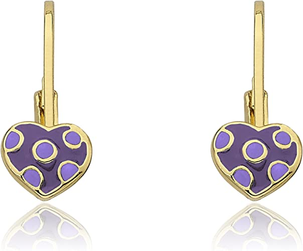 Little Miss Twin Stars I LOVE My Jewels 14k Gold-Plated Light Blue Heart /& Gold Heart Dangle Earring Surgical Steel Posts Safe for Sensitive Ears