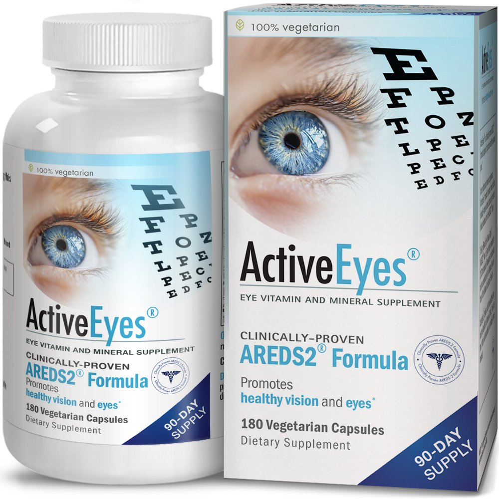 ActiveEyes AREDS 2 Eye Vitamin & Mineral Supplement with Lutein and Zeaxanthin, 180 Vegetarian Capsules by ACTIVE EYES