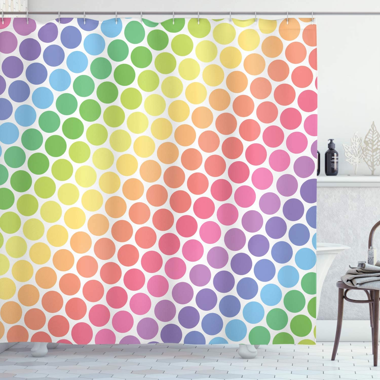 Ambesonne Polka Dots Home Decor Shower Curtain Set, Polka Dots in Soft Rainbow Colors Big Points Eternal Shapes Retro Artful Pattern, Bathroom Accessories, 69W X 70L Inches, Multi