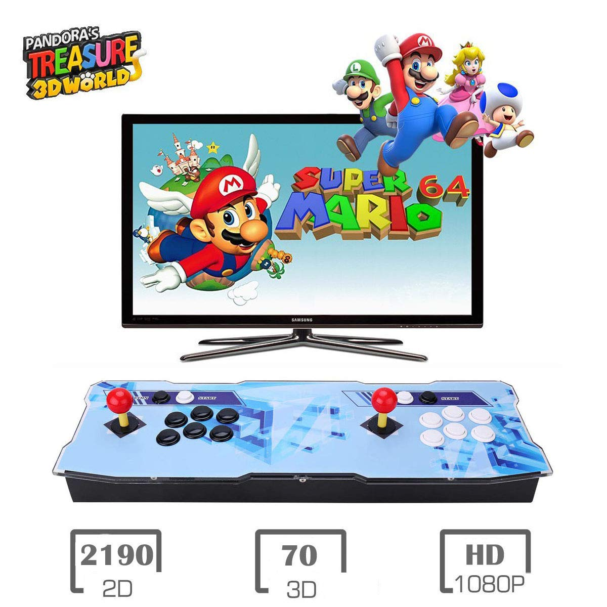 Pandora Treasure 3D 2260 Retro Home Arcade Game Console | Support 3D Games | Add More Games | Support 4 Players | Full HD (1920x1080) Video | 2 Player Game Controls | HDMI/VGA/USB/AUX Audio Output by HAAMIIQII (Image #1)