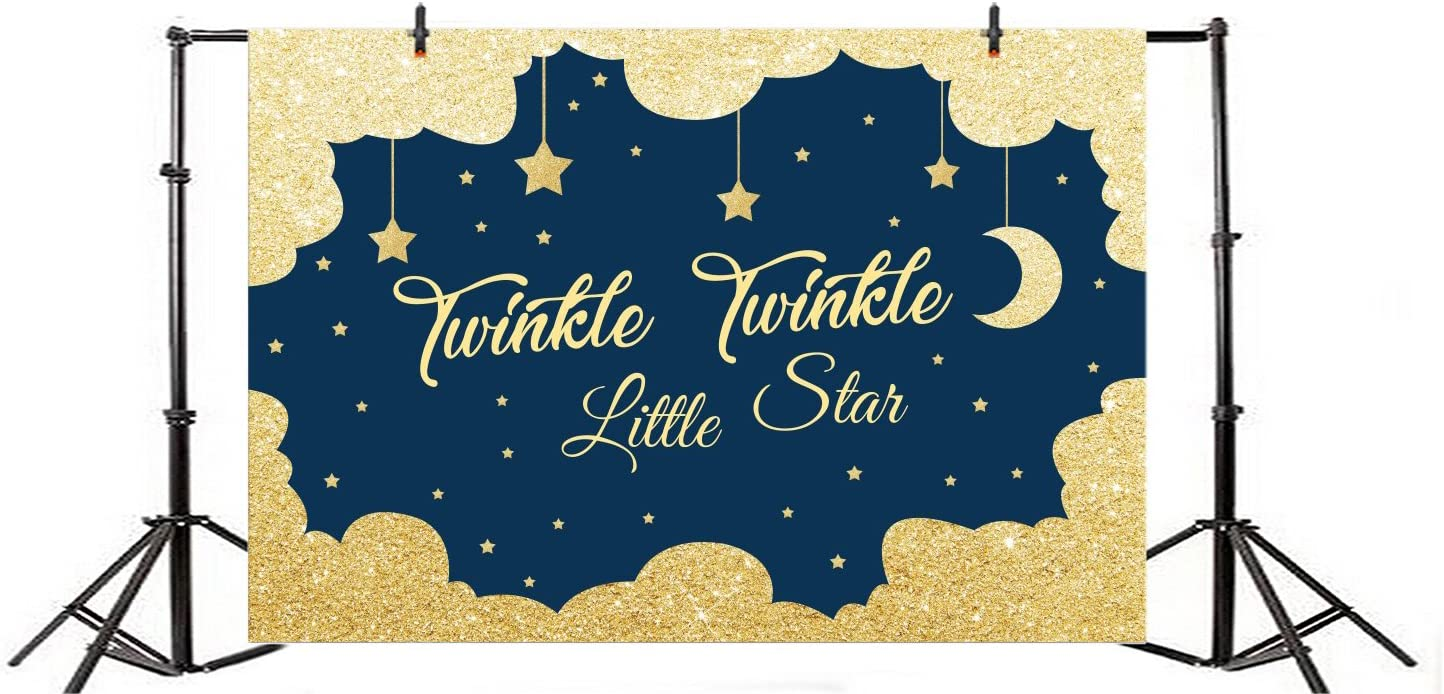 YongFoto 10x9ft Twinkle Twinkle Little Star Backdrop Pink Gold Stars Flags Moon Night Photography Background Baby Shower Happy Birthday Party Decor Kids Portrait Photo Booth Banner Studio Props