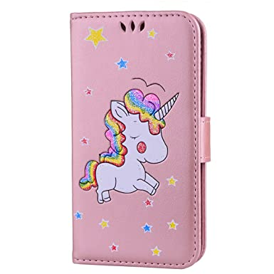 brand new b5b18 b0f54 CXTcase Samsung S5 Leather Case, Galaxy S5 Neo Unicorn Wallet PU Leather  Flip Case [Kickstand] [Card Holder] Magnetic Protective Phone Cover Glitter  ...