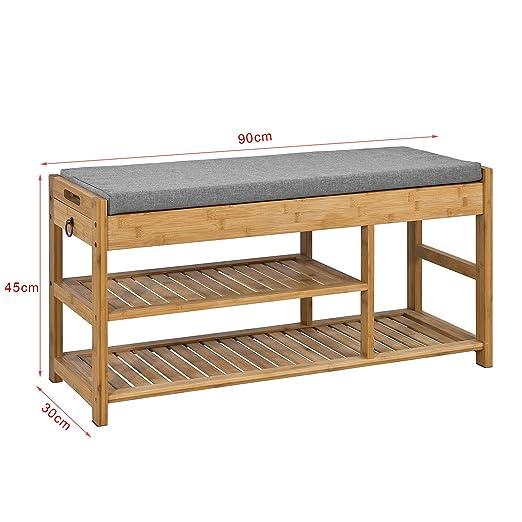 SoBuy FSR47-N,ES Banco de Almacenamiento con cajón y cojín,Zapatero,L90 cm x H45 cm (Bambú)