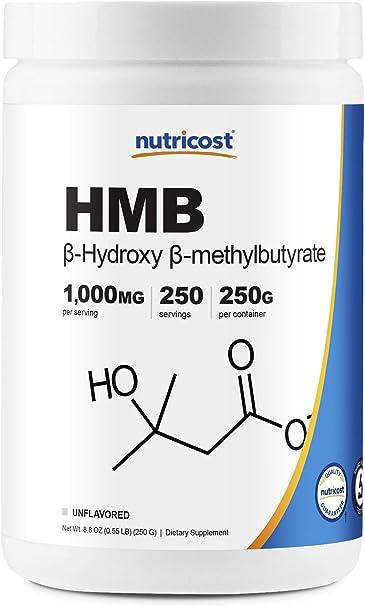 Nutricost HMB Powder (Beta-Hydroxy Beta-Methylbutyrate) 250 Grams - Gluten Free & Non-GMO