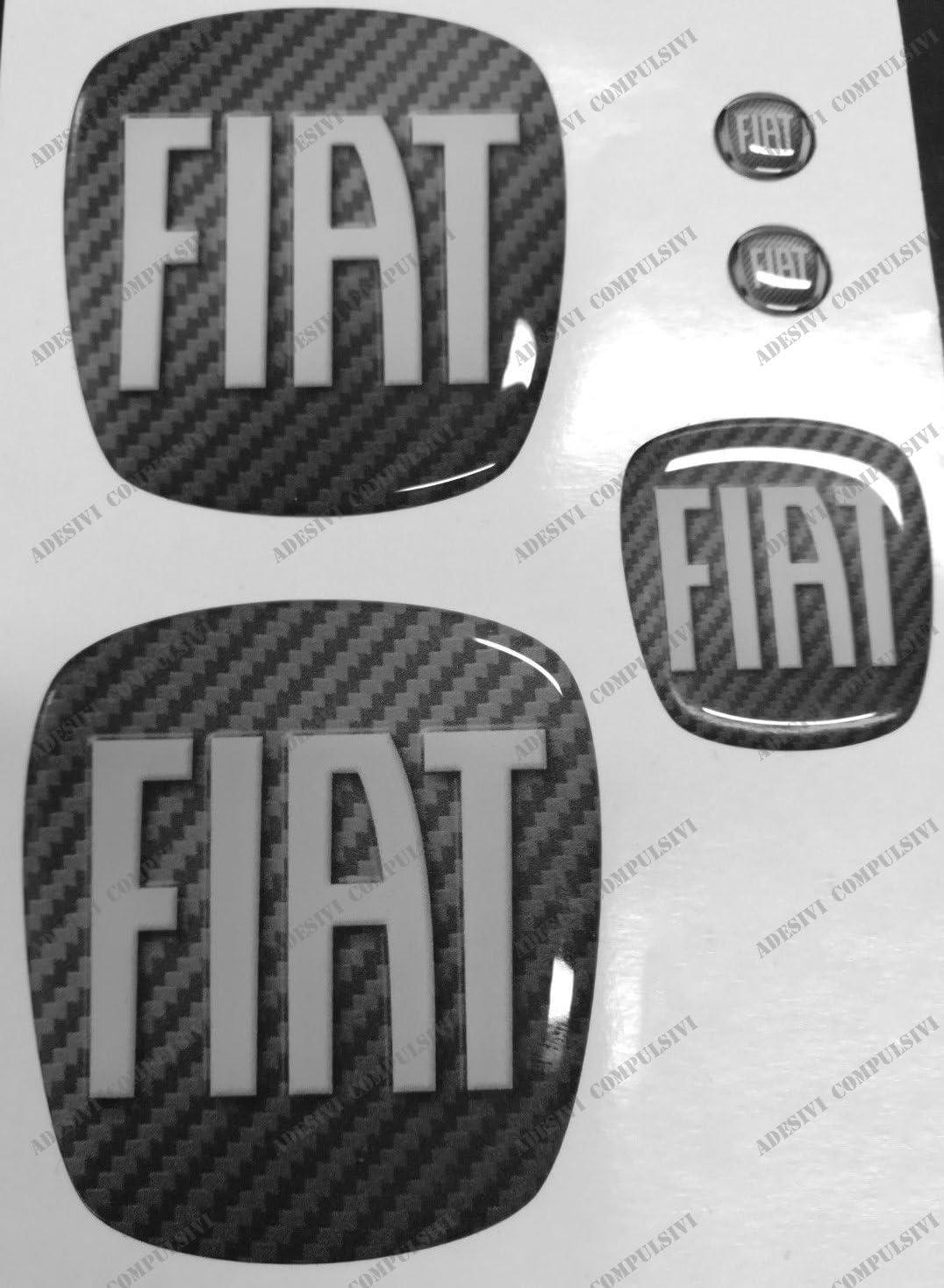 posteriore Per cofano e baule volante Fregi colore sfondo Carbonio 2 stemmi per portachiavi Adesivi resinati Logo 500 anteriore effetto 3D