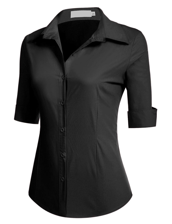 Unibelle dam blus skräddarsydd skjortblus 3/4 ärmar blusedamen arbetshemd basemd affärshemd svart