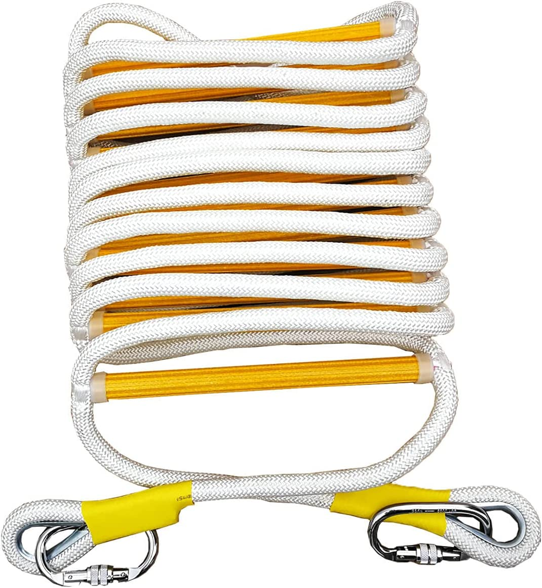Fire Escape Ladder with Sturdy Carabiners - Rope Ladder, Emergency Escape Ladder with Strong Rungs, 16 Feet, Tested to 2000 Pounds, Reusable