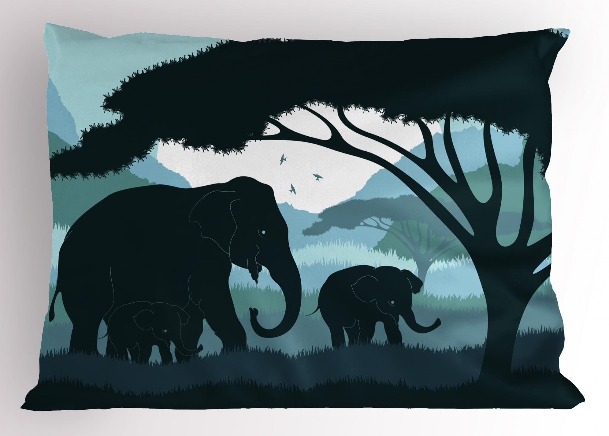 Lunarable Elephant Pillow Sham, Wild Animal Family with Mother Baby Elephants in Africa Landscape, Decorative Standard King Size Printed Pillowcase, 36 X 20 inches, Dark Blue Pale Blue White