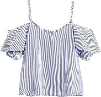 Switchali Blusas de Mujer de Moda 2017 Verano Camisetas Mujer Manga Corta Blusa Elegantes de Fiesta la Camisa de Rayas sin Tirantes Ropa de Mujer en Oferta (Medium, Azul): Amazon.es: Ropa y