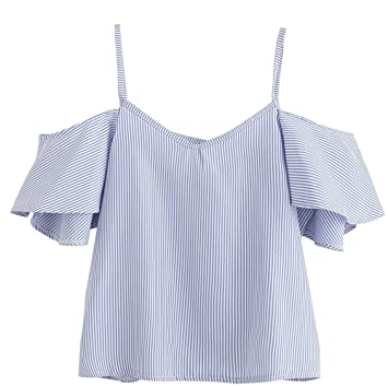 HOT!!Summer Blouse,Woaills Women S-2XL Pinstripe Cold Shoulder Top (