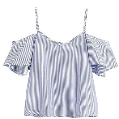 Womens Top Tank Blouse Summer Casual Loose Striped Cami Shirt