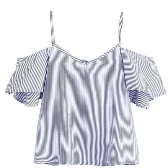 Damen Sommer Schulterfrei Lose T-Shirt Schulter Tops Blusen Shirt Hemd Oberteile