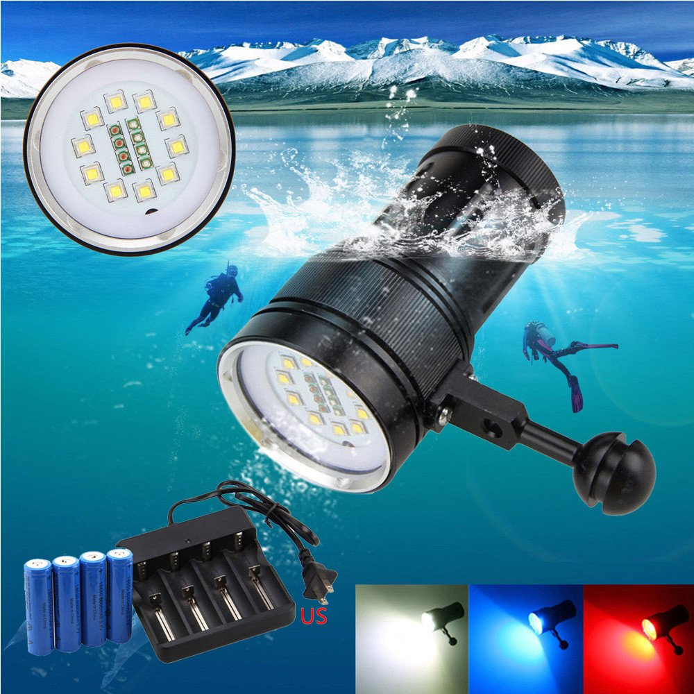 KXN 12000LM XM-L2 Professional Handheld Diving Flashlight UnderWater 100m Depth Camera Photography Video Light Torch Flashlight for Outdoor Under water Sports