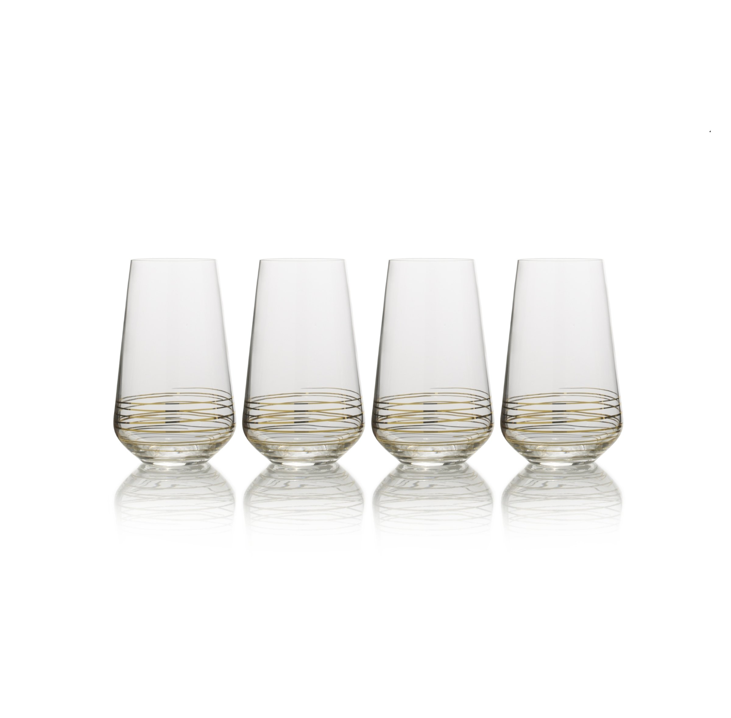 Mikasa Electric Boulevard Gold Highball Glass, 17-Ounce, Set of 4